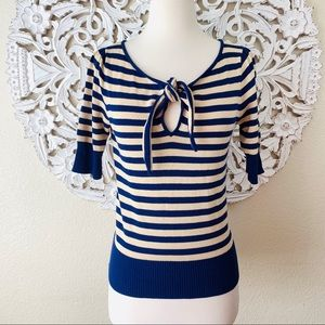 {DVF} Striped Short Sleeve Tie-Knot Sweater